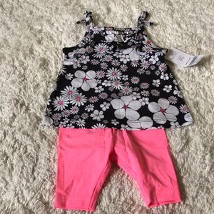 NWT Carters Baby Girl Black Pink Floral Outfit 3mo